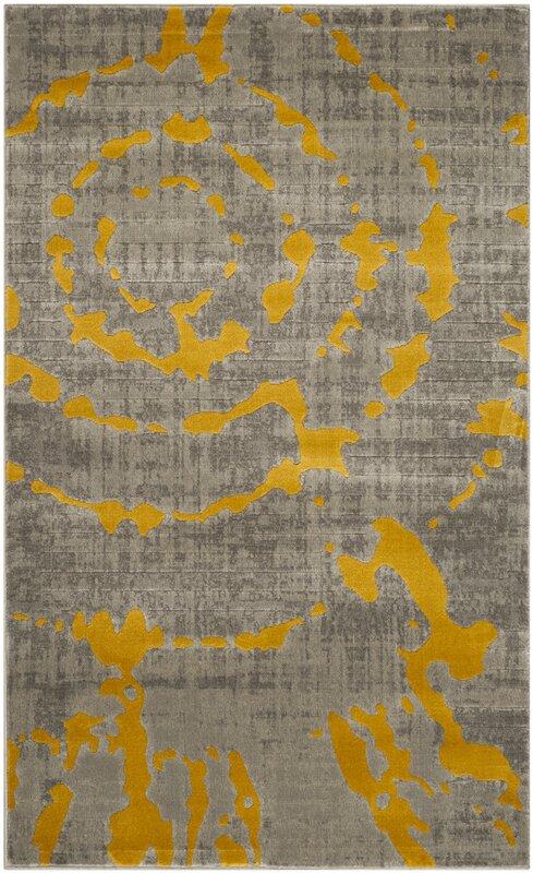 Lovely Chaima Light Gray/Yellow Area Rug