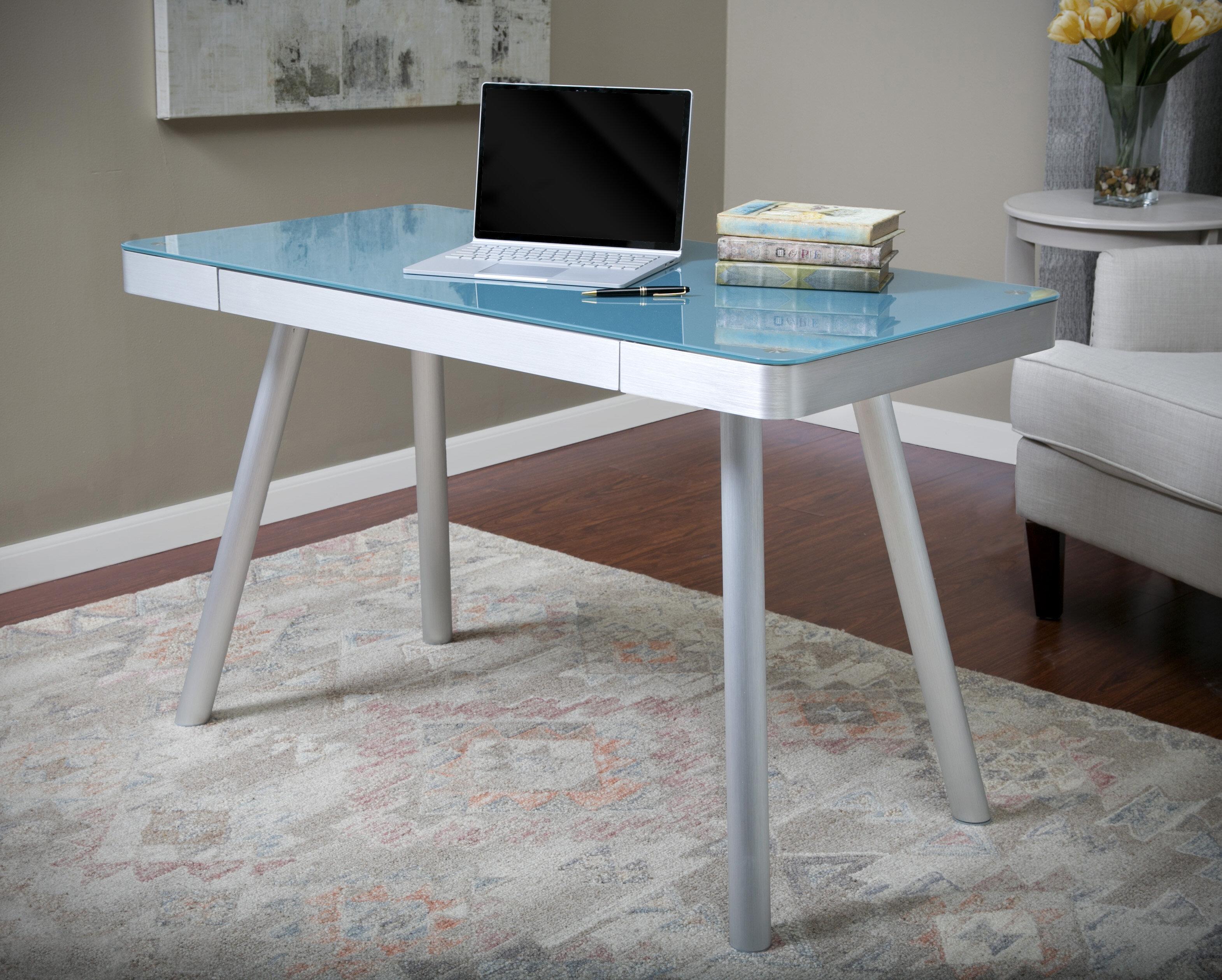 Latitude Run Zeller Glass Writing Desk U0026 Reviews | Wayfair