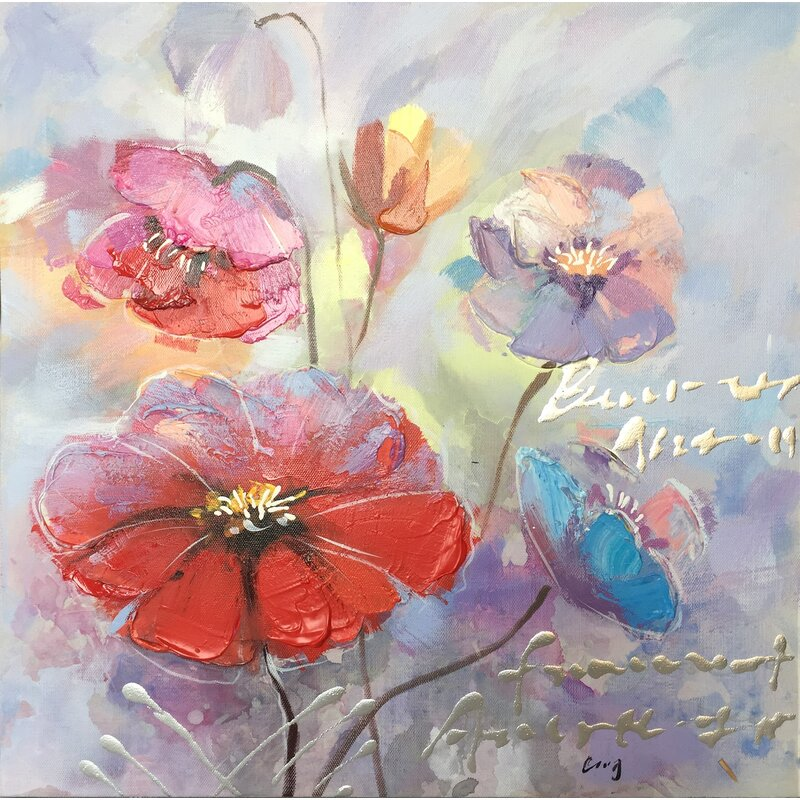 Ebern Designs A Beautiful Day With Flowers I Oil Painting Print On Wrapped Canvas Wayfair