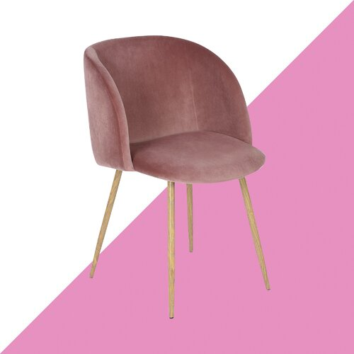Niels Upholstered Dining Chair Hashtag Home Upholstery Colour: Pink