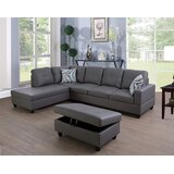 Wellington 104 Faux Leather Corner Sectional with Ottoman by Latitude Run®