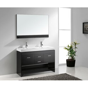 Frausto 48 Double Bathroom Vanity Set with White Top and Mirror By Brayden Studio