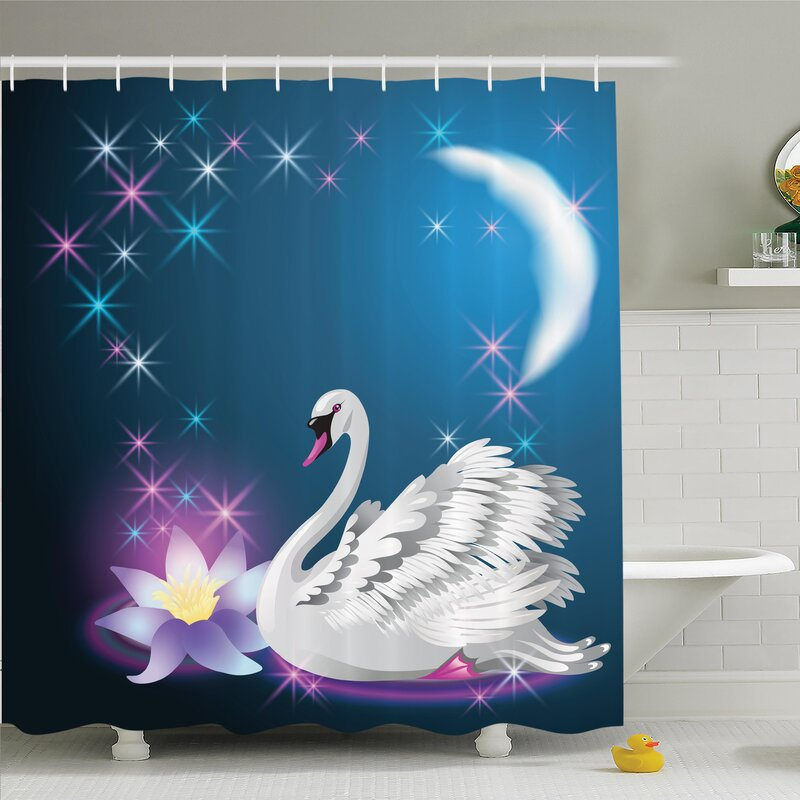 Animal Magic Lily Swan Shower Curtain Set