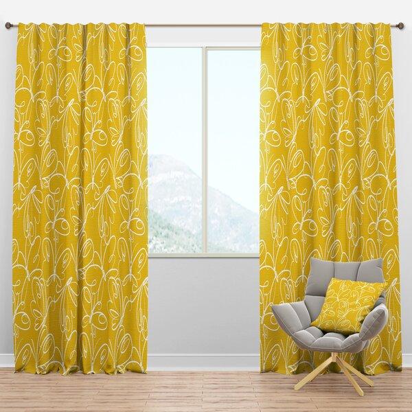 Designart Mid Century Butterflies Hand Drawn Semi Sheer Thermal Rod Pocket Curtain Panels Wayfair