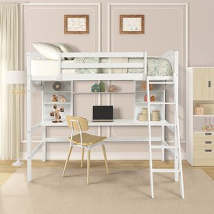 Stoutland Twin Loft Bed with Shelves by