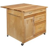 Nacomia Kitchen Cart with Butcher Block Top by Winston Porter