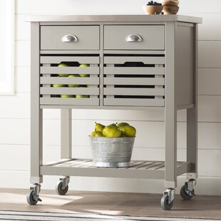 Chason Kitchen Cart with Stainless Top Charlton Home