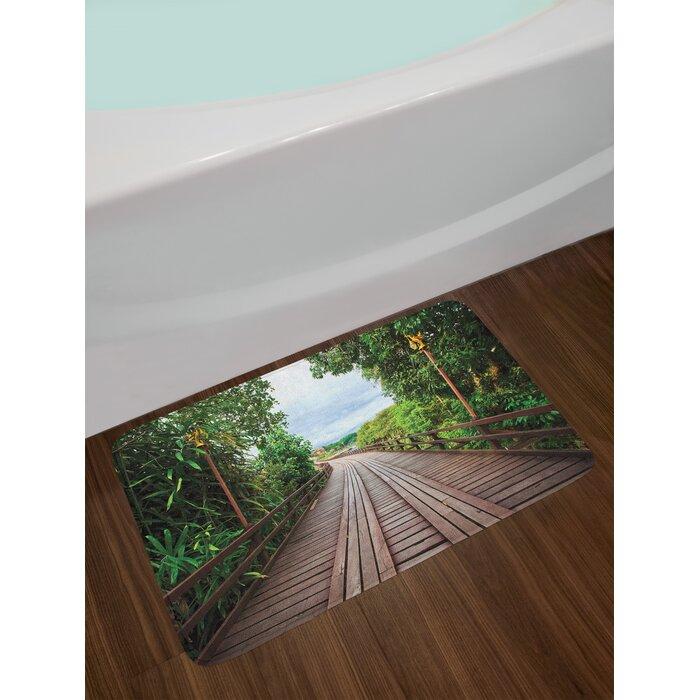Wooden Landscape Bath Rug