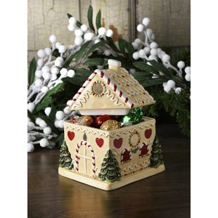 Christmas Tree Gingerbread House Candy Jar By Spode