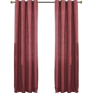 Solid Semi Sheer Grommet Curtain Panels Set Of 2 Red Dining Room Curtains  Wayfair.