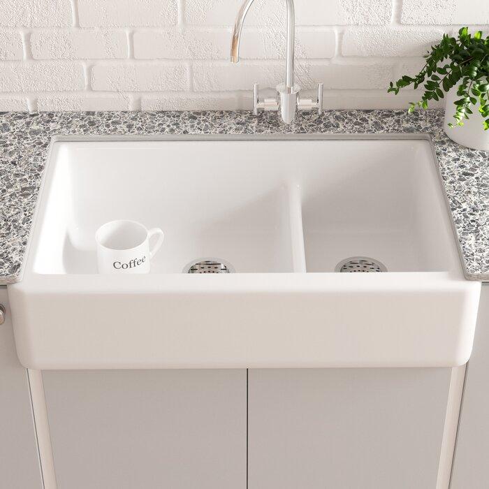 Kohler Apron Front Sink.Whitehaven Smart Divide 36 L X 22 W Farmhouse Double Bowl Kitchen Sink With Tall Apron