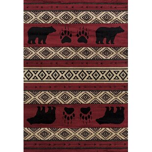 Affordable Price Pippen Bear Imprint Red/Beige/Black Area Rug By Loon Peak