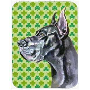 Shamrock Lucky Irish Great Dane St. Patrick's Day Glass Cutting Board ByCaroline's Treasures
