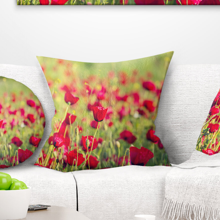 East Urban Home Beautiful Poppy Flowers Background Pillow Wayfair