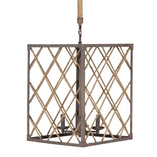 Wynn Metal and Jute Rope 4-Light Lantern Rectangle Pendant by Breakwater Bay