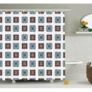 Elisabeth Geometric Square Shaped Lines Aztec Tribal Forms With Ethnic Detail Folk Batik Image Single Shower Curtain