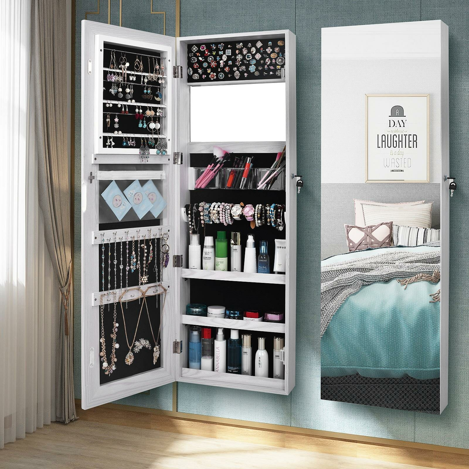 Image of: Latitude Run Gaphna Wall Mounted Jewelry Armoire With Mirror Reviews Wayfair
