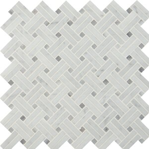 Basketweave Polished Marble Mosaic Tile in White (Set of 10)