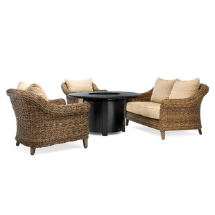 Beckwith 4 Piece Fire Pit Rattan Sofa Seating Group with Cushions