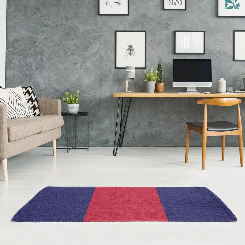 East Urban Home St Louis Striped Midnight Navy Blue Red Area Rug Wayfair