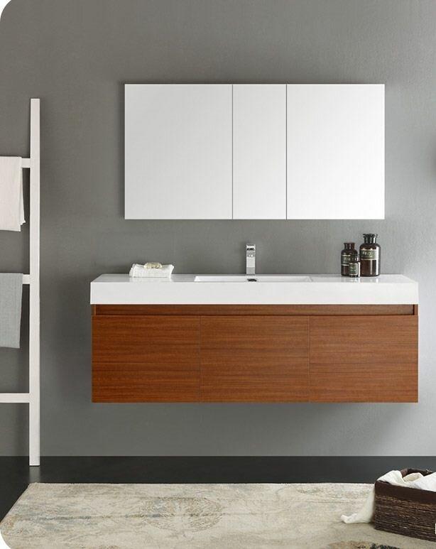 Fresca Senza 60 Mezzo Single Wall Mounted Modern Bathroom Vanity Set With Mirror Wayfair