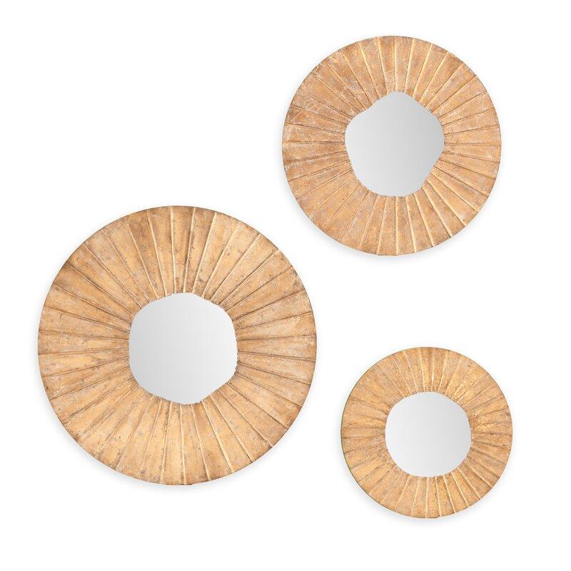 Wall Mirror Set Of 3 3-piece astoria round wall mirror set & reviews | joss & main