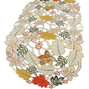 Harvest Splendor Embroidered Cutwork Fall Table Runner