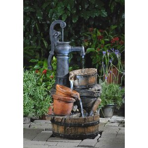 Resin/Fiberglass  Tiered Classic Water Pump Fountain with LED Light