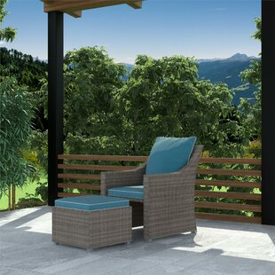 Coyne Patio Chair with Cushions and Ottoman