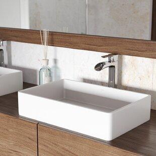Check Prices VIGO Matte Stone Rectangular Vessel Bathroom Sink with Faucet ByVIGO