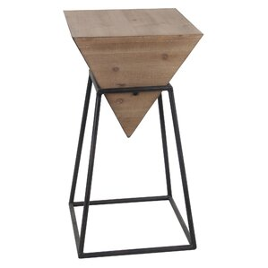 Renzo Small Wood Iron End Table by Ivy Bronx