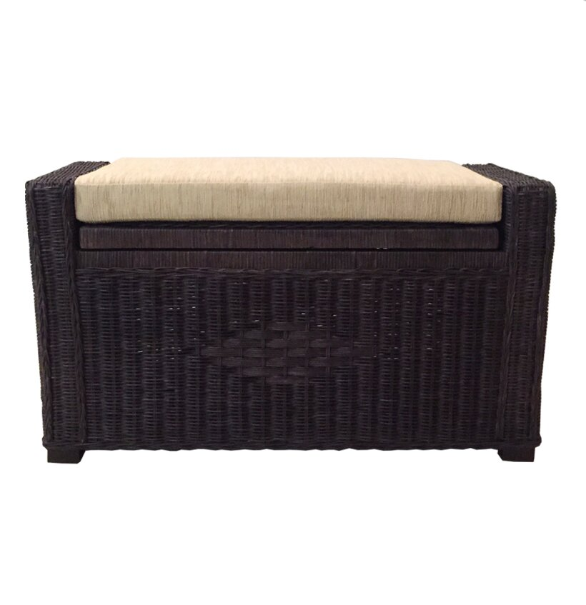 RattanWickerHomeFurniture Adam Rattan Wicker Storage Bench U0026 Reviews |  Wayfair