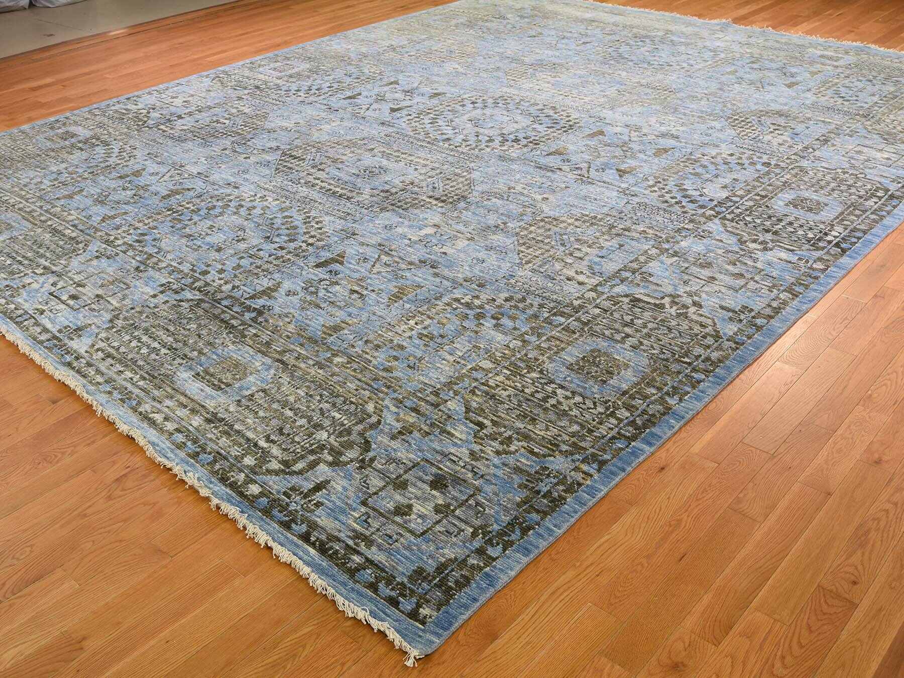 Canora Grey One Of A Kind Alissa Hand Knotted Blue Dark Green 12 2 X 15 3 Area Rug Wayfair