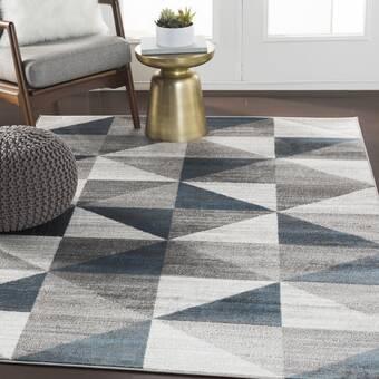 Allmodern Geometric Handmade Tufted Gray Area Rug Reviews Wayfair
