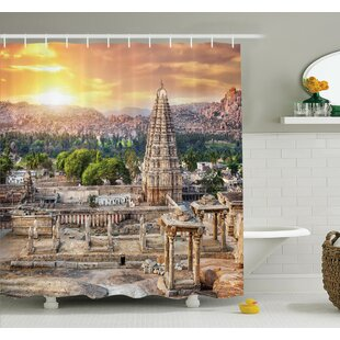 Temple at Sunset Shower Curtain Set
