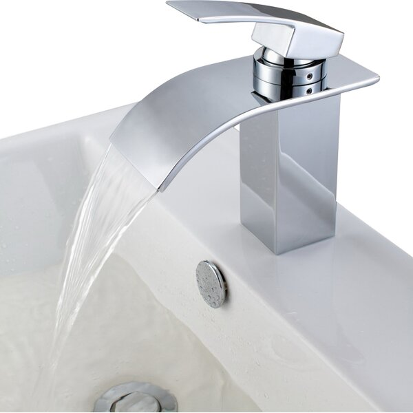 Sumerain Deck Mount Waterfall Bathroom Sink Faucet with Hoses ...