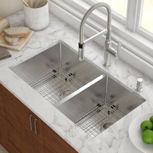 stainless steel 3275 x 19 double bowl undermount kitchen sink with noisedefend soundproofing. beautiful ideas. Home Design Ideas