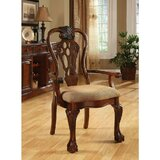 Robena Cotton Upholstered Ladder Back Arm Chair in Brown (Set of 2) by Astoria Grand