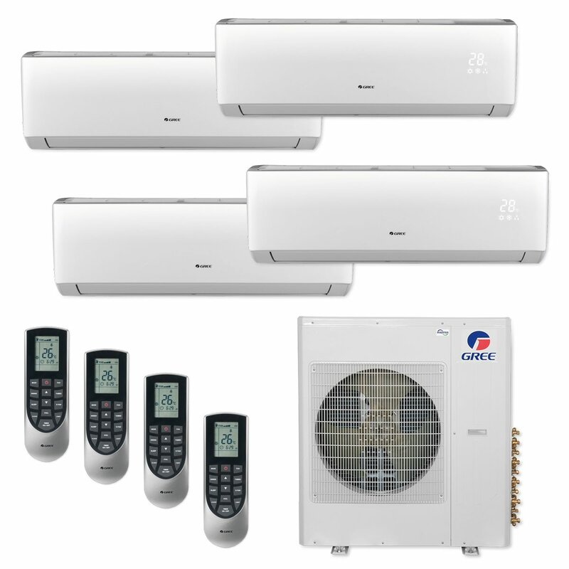 Gree 5 Piece Quad Zone Wall Mount 42 000 Btu Ductless Mini Split Air Conditioner Set With Remote And Wifi Control Wayfair