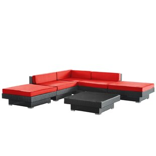 Luxury 6 Piece Rattan Sectional Set with Cushions