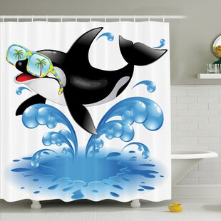 Kids Whale with Sunglasses Shower Curtain Set by Ambesonne