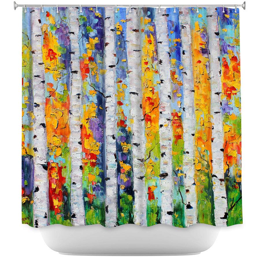 Ebern Designs Celentanos Birch Trees Shower Curtain
