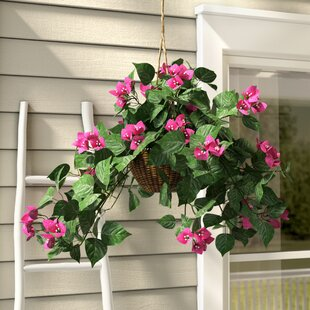Silk Bougainvillea Floral Arrangement in Basket