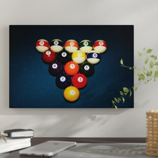 U0027Billiard Balls Racked Up On Pool Tableu0027 Photographic Print On Wrapped  Canvas