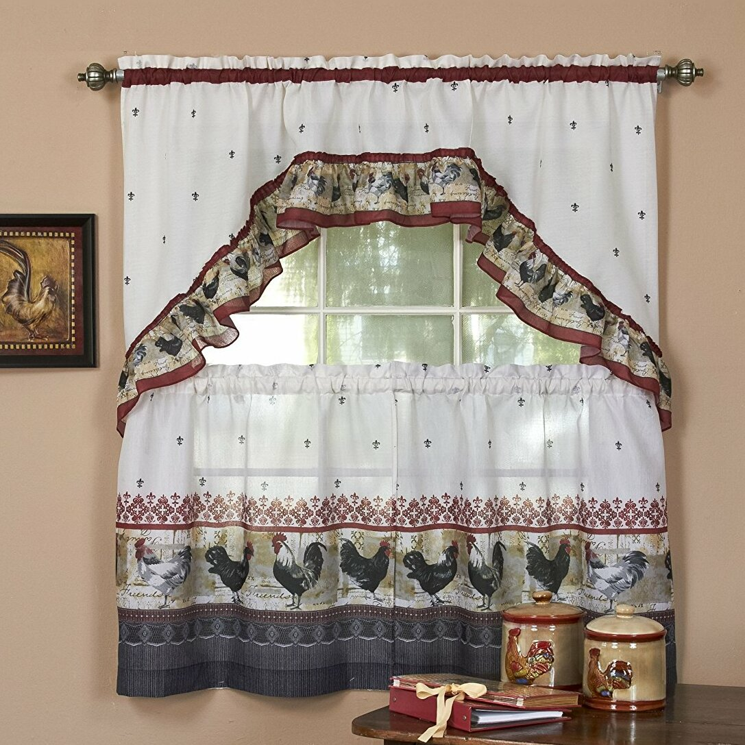 August Grove Meerab Traditional Elegance Rooster 2 Piece Kitchen Curtain Set Reviews Wayfair