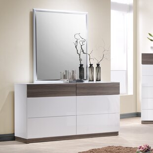 Elida 4 Drawer Double Dresser with Mirror
