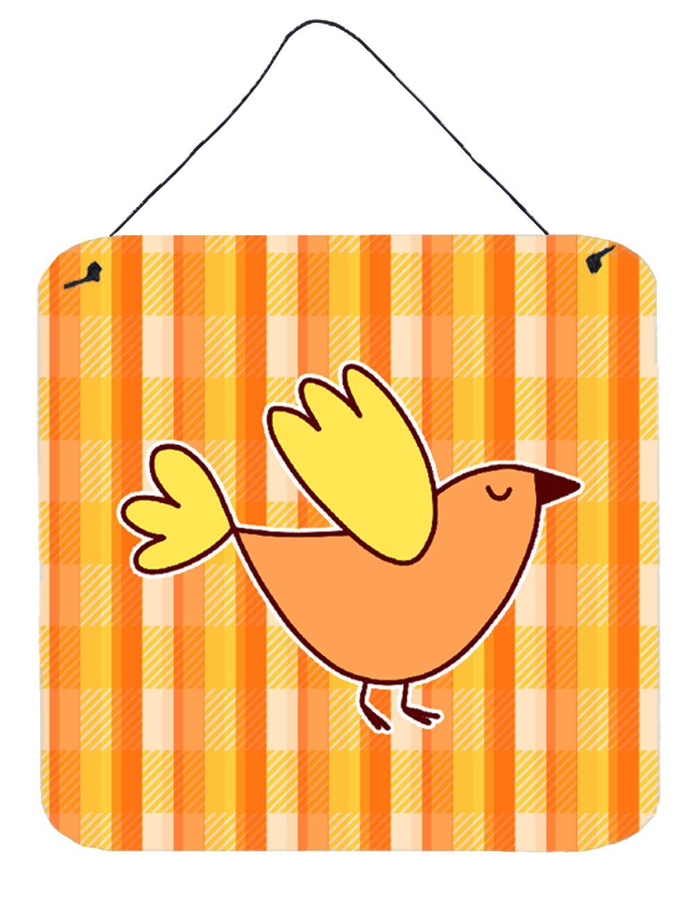 Zoomie Kids Bird on Plaid Aluminum Wall Décor | Wayfair