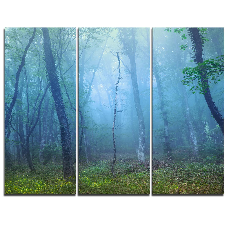 Designart Dark Foggy Forest Trees 3 Piece Graphic Art On Wrapped Canvas Set Wayfair Ca
