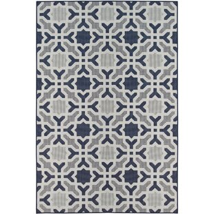 Poff Navy/White Indoor/Outdoor Area Rug By Winston Porter