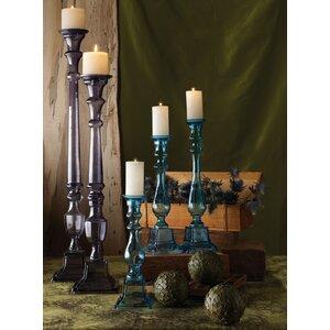 Tall Glass Knight Pillar Candlestick Holder